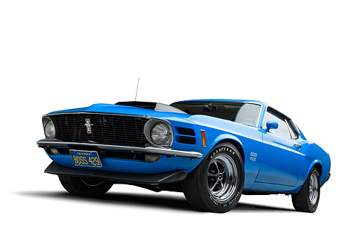 AUT 23 BK0476 01 © Kimball Stock 1970 Ford Boss 429 Mustang Blue 3/4 Front View In Studio
