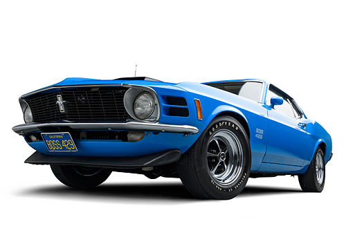 AUT 23 BK0477 01 © Kimball Stock 1970 Ford Boss 429 Mustang Blue 3/4 Front View In Studio