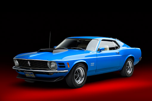 AUT 23 BK0478 01 © Kimball Stock 1970 Ford Boss 429 Mustang Blue 3/4 Front View In Studio