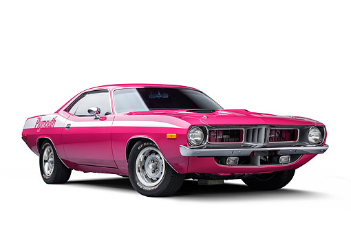 AUT 23 BK0479 01 © Kimball Stock 1972 Plymouth Barracuda 440-6 Moulin Rouge 3/4 Front View
