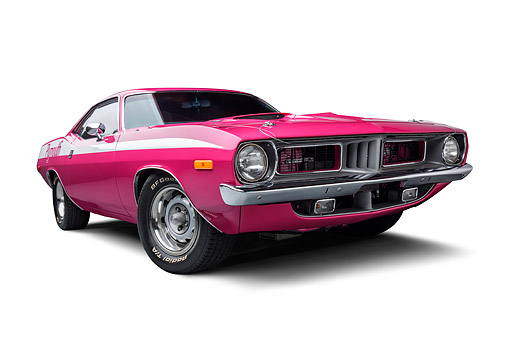 AUT 23 BK0480 01 © Kimball Stock 1972 Plymouth Barracuda 440-6 Moulin Rouge 3/4 Front View Wide