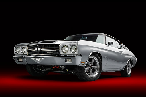AUT 23 BK0489 01 © Kimball Stock 1970 Chevrolet Chevelle SS 396 Silver Low 3/4 Front View In Studio