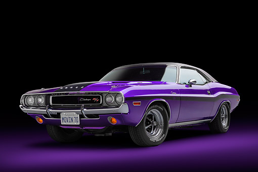 AUT 23 BK0494 01 © Kimball Stock 1970 Dodge Challenger R/T 440 Magnum Plum Crazy 3/4 Front View In Studio