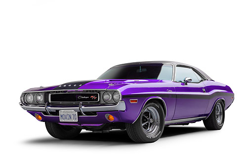 AUT 23 BK0495 01 © Kimball Stock 1970 Dodge Challenger R/T 440 Magnum Plum Crazy 3/4 Front View In Studio