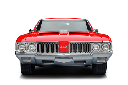 AUT 23 BK0497 01 © Kimball Stock 1970 Oldsmobile 442 Red Front View In Studio