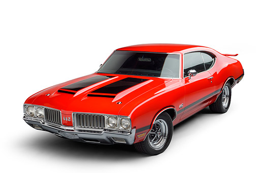 AUT 23 BK0502 01 © Kimball Stock 1970 Oldsmobile 442 Red 3/4 Front View In Studio