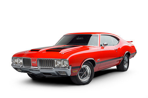 AUT 23 BK0504 01 © Kimball Stock 1970 Oldsmobile 442 Red 3/4 Front View In Studio