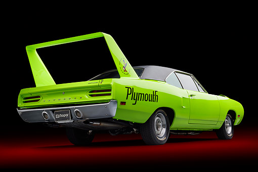 AUT 23 BK0505 01 © Kimball Stock 1970 Plymouth Road Runner Superbird Sublime Green 3/4 Rear View In Studio