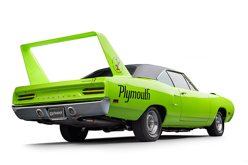 AUT 23 BK0506 01 © Kimball Stock 1970 Plymouth Road Runner Superbird Sublime Green 3/4 Rear View In Studio