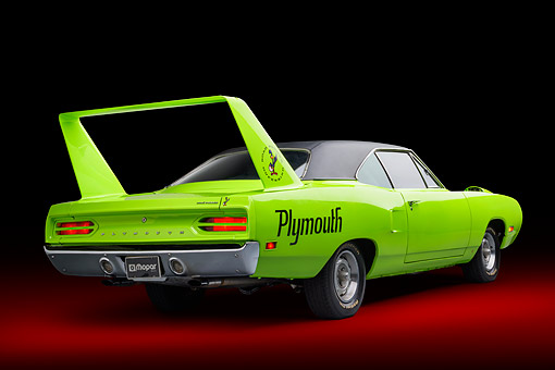 AUT 23 BK0507 01 © Kimball Stock 1970 Plymouth Road Runner Superbird Sublime Green 3/4 Rear View In Studio