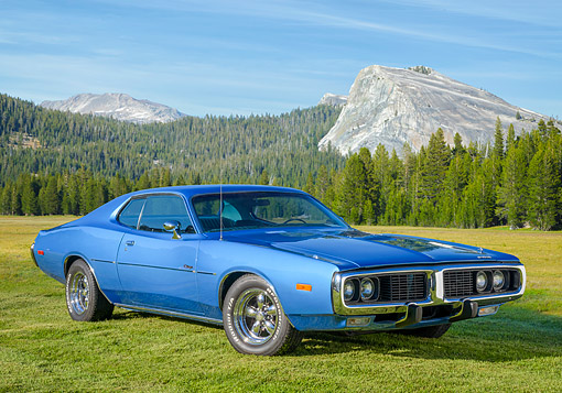 AUT 23 BK0513 01 © Kimball Stock 1973 Dodge Charger Blue 3/4 Front View In Meadow By Mountains And Trees