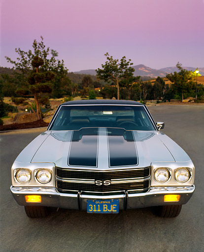 AUT 23 RK0037 02 © Kimball Stock 1970 Chevy Chevelle 396 Silver Black Stripes Head On Shot Parking Lights On By Trees At Dusk Filtered