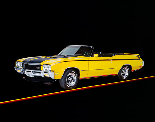 AUT 23 RK0057 02 © Kimball Stock 1971 Buick GSX Convertible Yellow And Black 3/4 Front View On Yellow Line Studio