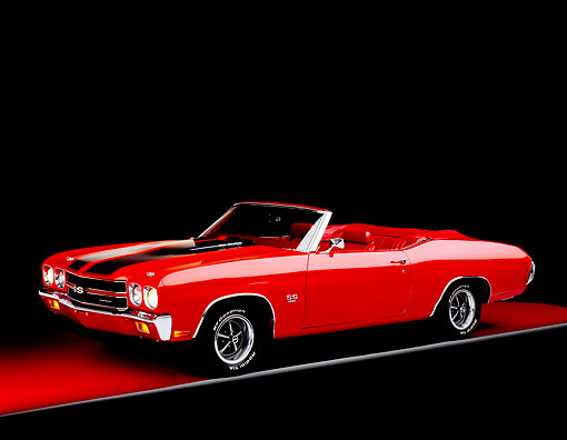 AUT 23 RK0095 03 © Kimball Stock 1970 Chevrolet Chevelle SS 396 Convertible Red 3/4 Side View On Red Floor Gray Line Studio