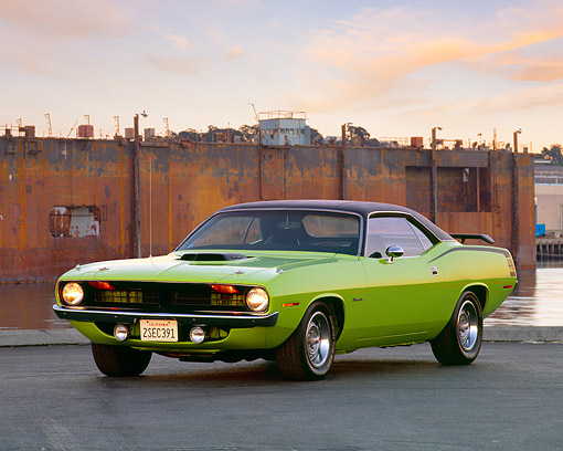 AUT 23 RK0130 04 © Kimball Stock 1970 Plymouth Barracuda 440 Six Pack Green 3/4 Front View On Pavement By Electric Towers Filtered