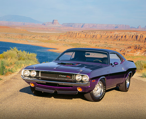 AUT 23 RK0145 03 © Kimball Stock 1970 Dodge Hemi Challenger Plum Crazy 3/4 Front View On Pavement