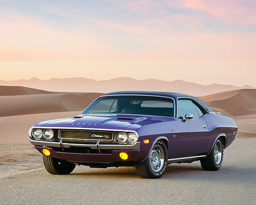 AUT 23 RK0165 02 © Kimball Stock 1970 Dodge Challenger Hemi Plum Crazy 3/4 Front View On Pavement