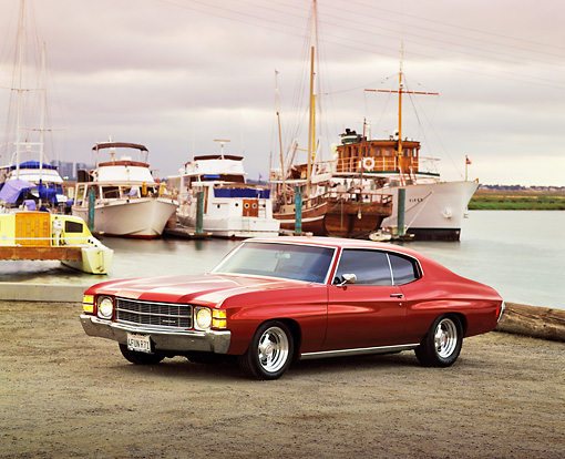 AUT 23 RK0181 09 © Kimball Stock 1971 Chevrolet Chevelle Ruby Red 3/4 Side View By Harbor Filtered