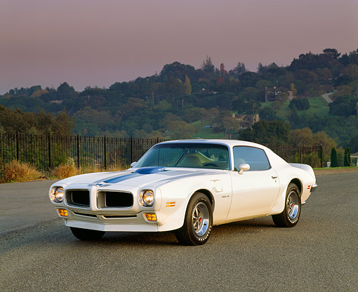 AUT 23 RK0288 02 © Kimball Stock 1971 Pontiac Firebird Trans Am White 3/4 Front View On Pavement
