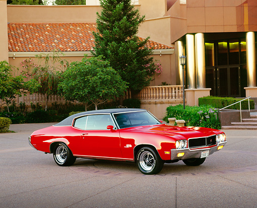 AUT 23 RK0319 03 © Kimball Stock 1970 Buick GS Stage 1 Red Side 3/4 View On Pavement By Museum