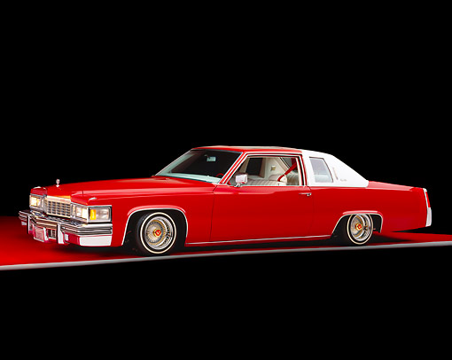 AUT 23 RK0716 01 © Kimball Stock 1977 Cadillac Coupe de Ville Red