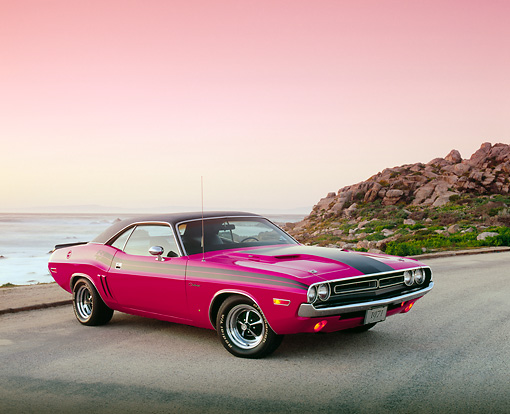 AUT 23 RK0838 04 © Kimball Stock 1971 Dodge Challenger Pink And Black 3/4 Side View On Pavement By Rocks Filtered