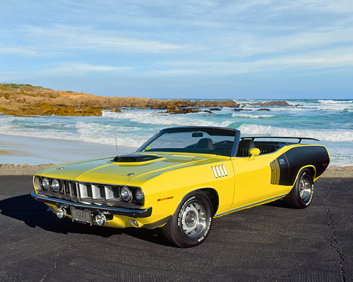 AUT 23 RK0948 03 © Kimball Stock 1971 Plymouth Hemi Cuda Convertible Yellow And Black 3/4 Front View On Pavement By Beach