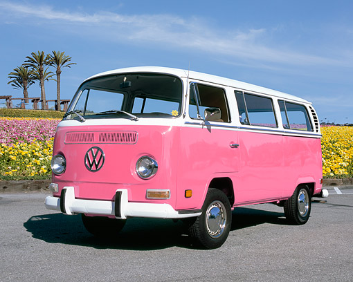 AUT 23 RK0959 01 © Kimball Stock 1971 Volkswagen Bus Pink And White 3/4 Front View On Pavement By Flowers