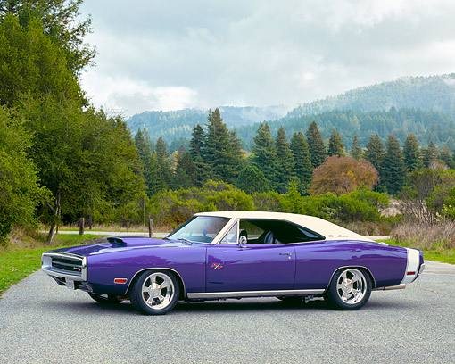 AUT 23 RK0979 02 © Kimball Stock 1970 Dodge Charger R/T-SE Purple 3/4 Side View On Pavement By Trees