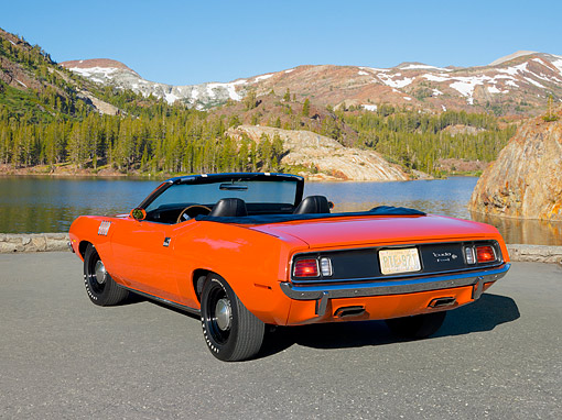 AUT 23 RK1078 01 © Kimball Stock 1971 Plymouth Hemi Barracuda Convertible Rallye Red 3/4 Rear View On Pavement