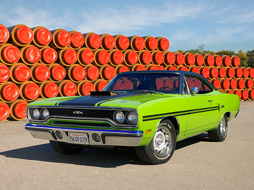 AUT 23 RK1238 01 © Kimball Stock 1970 Plymouth GTX Green 3/4 Front View On Pavement
