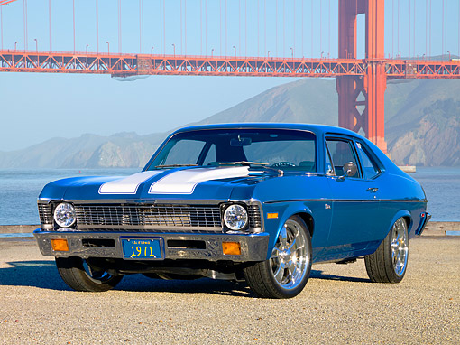 AUT 23 RK1606 01 © Kimball Stock 1971 Chevrolet Nova Blue 3/4 Front View On Gravel By Bridge