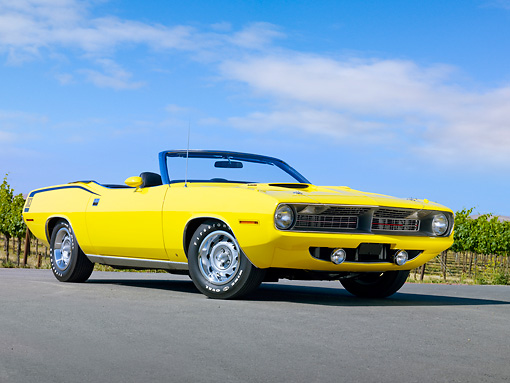 AUT 23 RK1857 01 © Kimball Stock 1970 Plymouth Barracuda 383 Convertible Yellow 3/4 Front View On Pavement By Vineyard