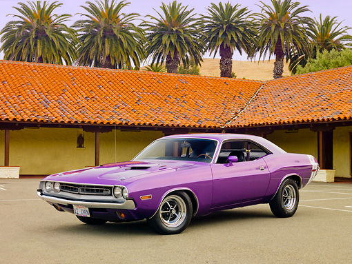 AUT 23 RK1861 01 © Kimball Stock 1971 Dodge Challenger Plum Crazy Purple 3/4 Front View On Pavement By Building