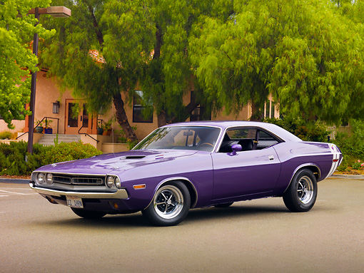 AUT 23 RK1863 01 © Kimball Stock 1971 Dodge Challenger Plum Crazy Purple 3/4 Front View On Pavement By Trees