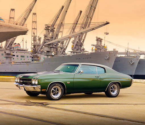 AUT 23 RK1865 01 © Kimball Stock 1970 Chevrolet Chevelle SS 454 Green 3/4 Front View On Dock By Ship