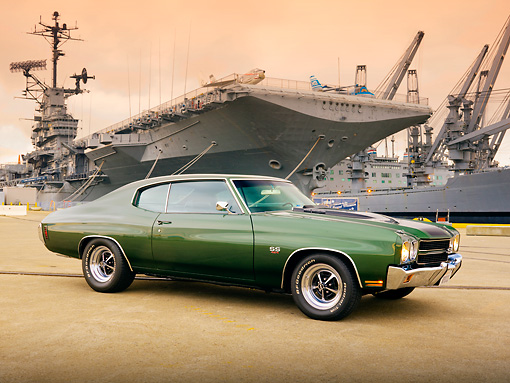 AUT 23 RK1866 01 © Kimball Stock 1970 Chevrolet Chevelle SS 454 Green 3/4 Front View On Dock By Ship