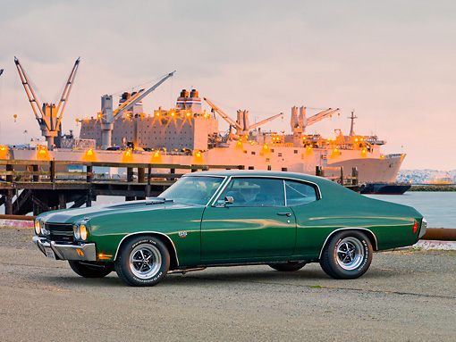 AUT 23 RK1867 01 © Kimball Stock 1970 Chevrolet Chevelle SS 454 Green 3/4 Front View On Dock By Ship