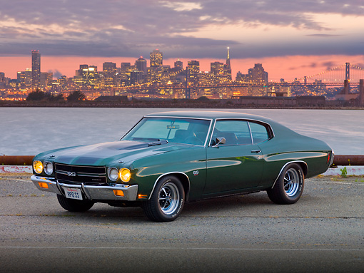 AUT 23 RK1868 01 © Kimball Stock 1970 Chevrolet Chevelle SS 454 Green 3/4 Front View On Pavement By Bay And City