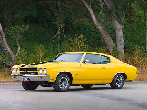 AUT 23 RK1877 01 © Kimball Stock 1970 Chevrolet Chevelle SS 454 Yellow With Black Stripes 3/4 Front View On Pavement By Trees