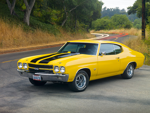 AUT 23 RK1878 01 © Kimball Stock 1970 Chevrolet Chevelle SS 454 Yellow With Black Stripes 3/4 Front View On Pavement By Trees