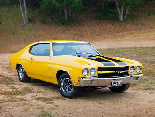 AUT 23 RK1881 01 © Kimball Stock 1970 Chevrolet Chevelle SS 454 Yellow With Black Stripes 3/4 Front View On Dirt