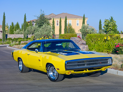 AUT 23 RK1900 01 © Kimball Stock 1970 Dodge Charger R/T Yellow And Black 3/4 Front View On Pavement By Garden And House