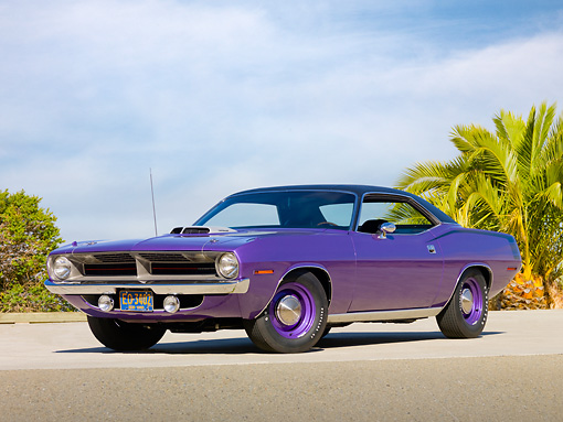 AUT 23 RK1994 01 © Kimball Stock 1970 Plymouth Hemi Barracuda Purple 3/4 Front View On Pavement By Palm Tree