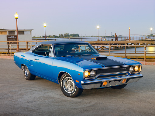 AUT 23 RK2016 01 © Kimball Stock 1970 Plymouth Road Runner Hemi Blue With Black Stripe 3/4 Front View On Pavement By Water