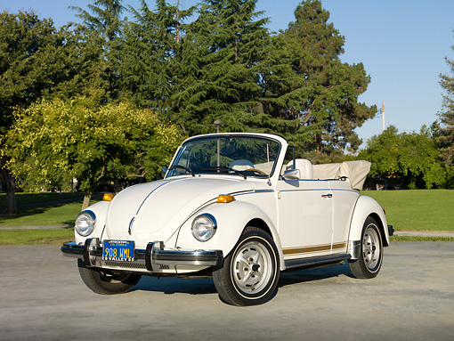AUT 23 RK2020 01 © Kimball Stock 1979 Volkswagen Bug Convertible White 3/4 Front View On Pavement By Grass And Trees