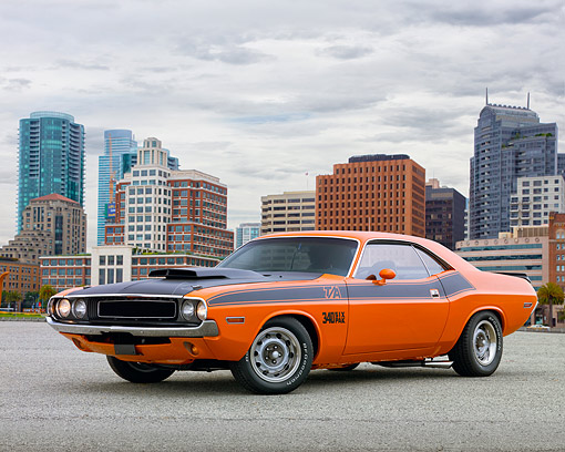 AUT 23 RK2041 01 © Kimball Stock 1970 Dodge Challenger T/A Orange And Black 3/4 Front View On Pavement By City