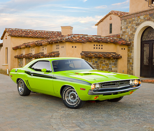 AUT 23 RK2043 01 © Kimball Stock 1971 Dodge Challenger R/T Sublime Green 3/4 Front View On Brick By House