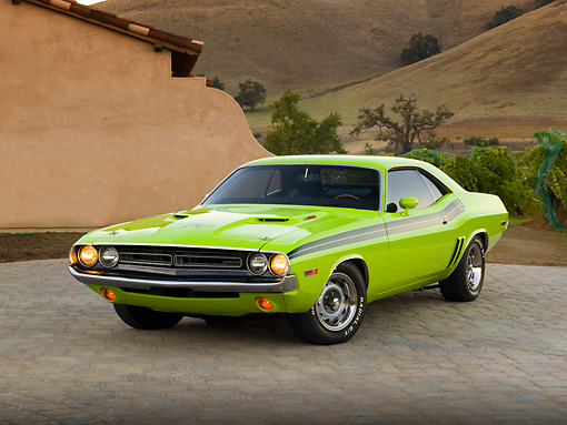 AUT 23 RK2044 01 © Kimball Stock 1971 Dodge Challenger R/T Sublime Green 3/4 Front View On Brick By House