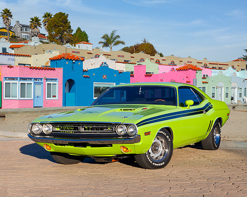 AUT 23 RK2048 01 © Kimball Stock 1971 Dodge Challenger R/T Sublime Green 3/4 Front View On Brick By Houses